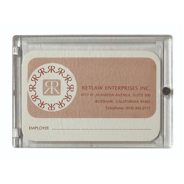 Retlaw Enterprises Employee Identification Card.
