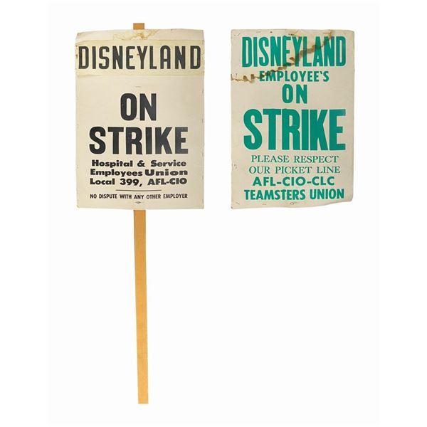 Pair of Disneyland on Strike Picket Signs.