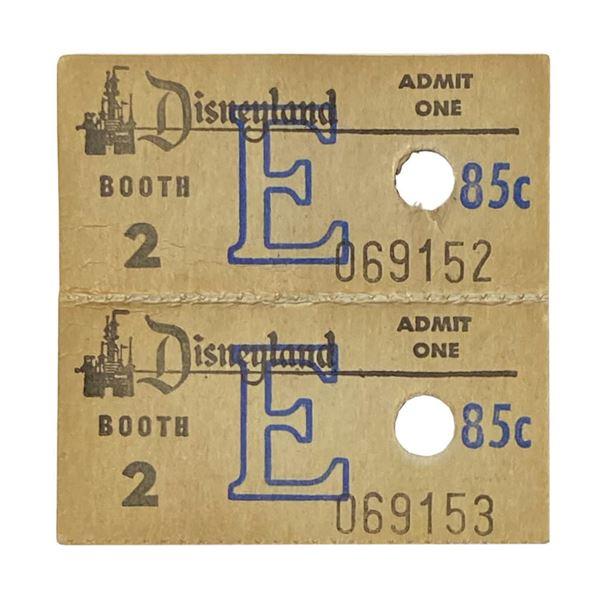 Pair of (2) Disneyland E Tickets.