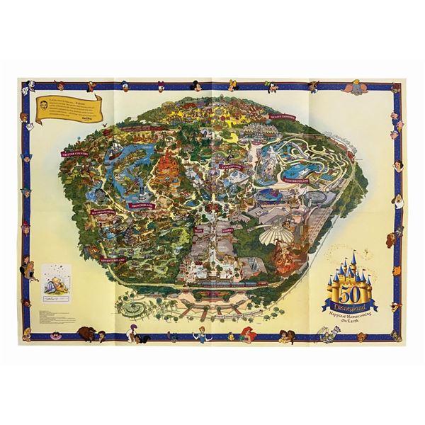 2005 Disneyland Map with Nina Rae Vaughn Signed Plate.