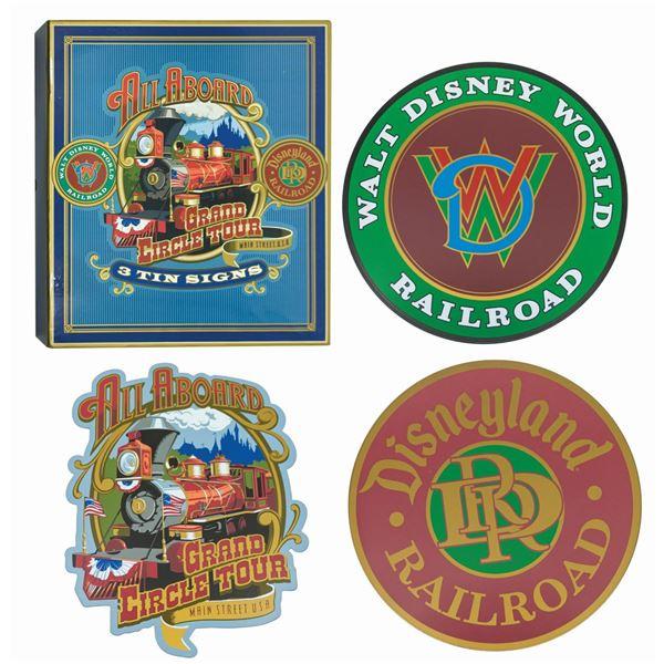 Set of (3) Disney Railroad Tin Signs.