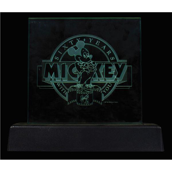 Mickey's 60th Birthday Light-Up Glass Plaque.