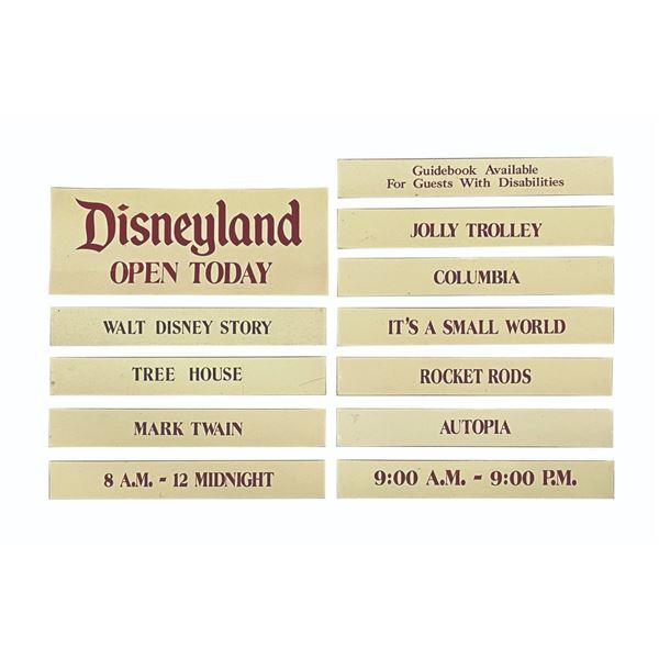 Set of (12) Disneyland Attraction Closure Signs.