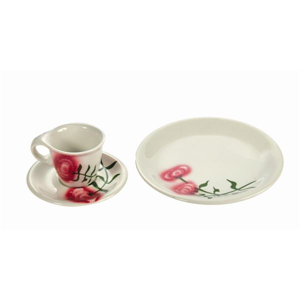 Carnation Ice Cream Parlor Cup, Saucer, and Plate.