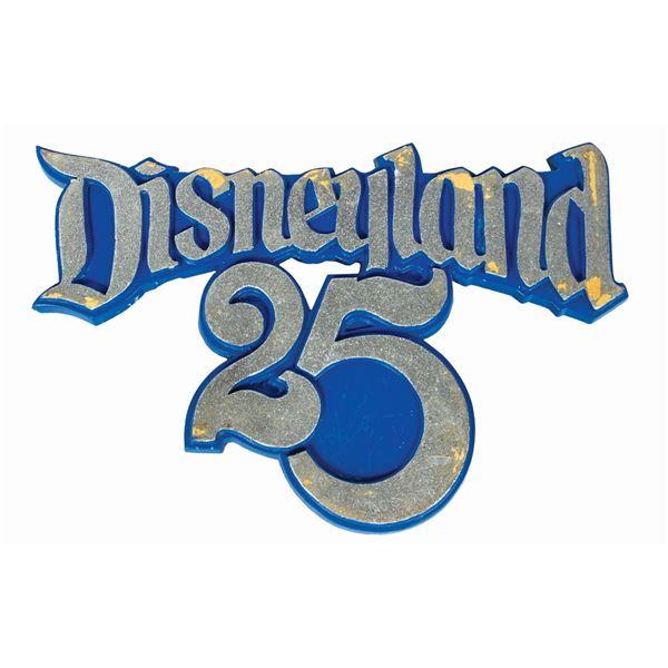 Disneyland 25th Anniversary Lamppost Sign.