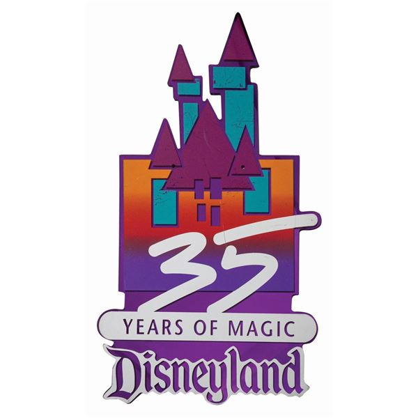 Disneyland 35th Anniversary Lamppost Sign.