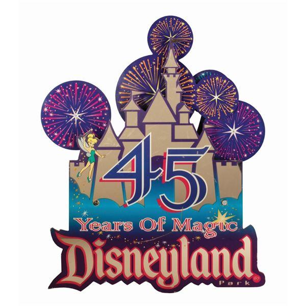 "Disneyland ""45 Years of Magic"" Lamppost Sign."