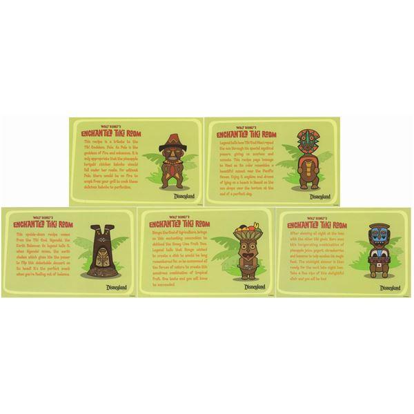 Set of (5) Tiki Room Recipe Cards.
