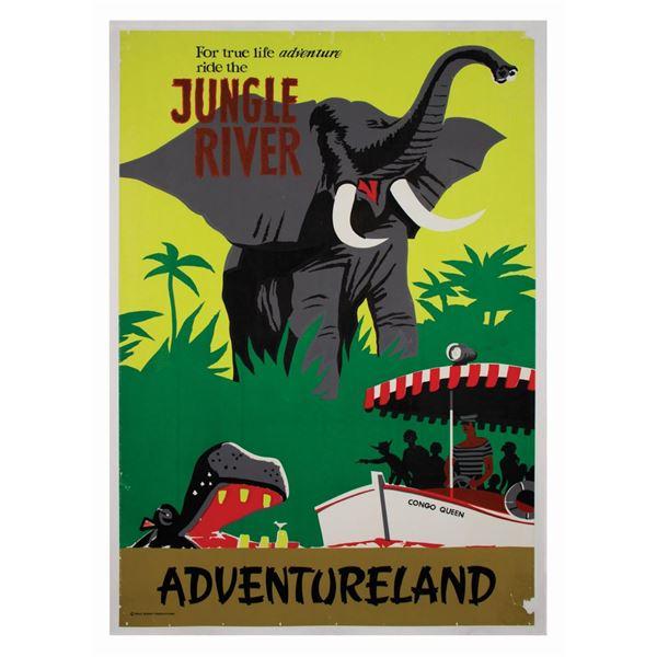 """Jungle Cruise """"Jungle River"""" Attraction Poster."""