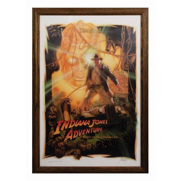 Multi-Signed Indiana Jones Adventure Attraction Poster.