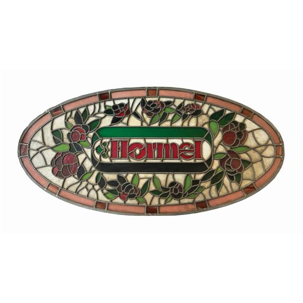 River Belle Terrace Hormel Stained Glass Sign.