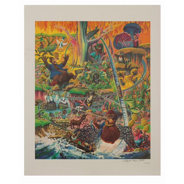 Charles Boyer Splash Mountain Signed Lithograph.