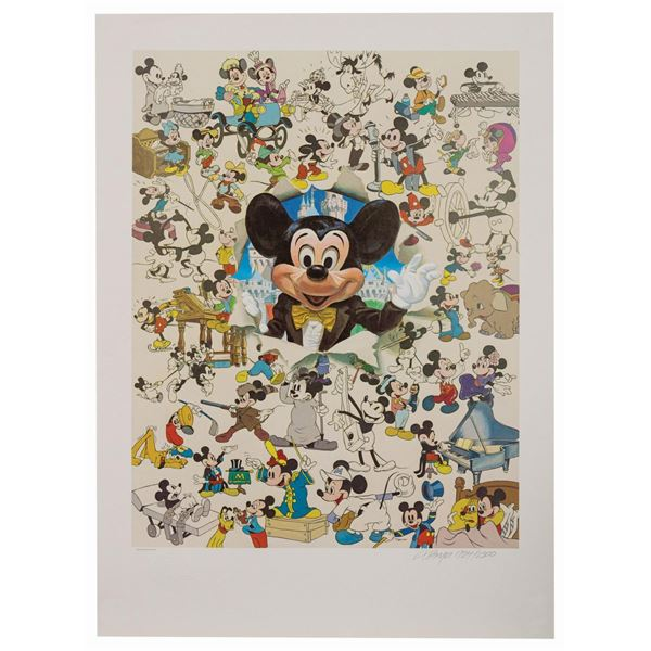 Charles Boyer Sixty Years Mickey Mouse Lithograph.