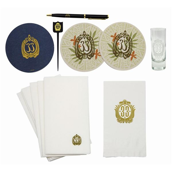 Collection of (16) Club 33 Branded Items.