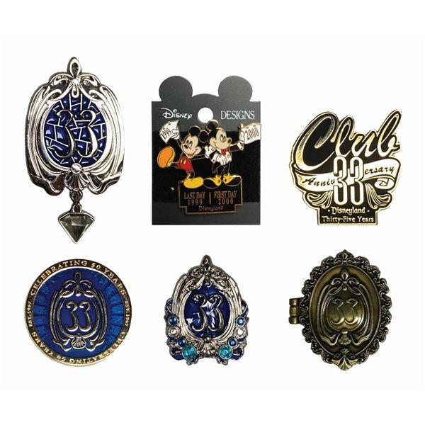 Set of (6) Club 33 Disneyland Pins.