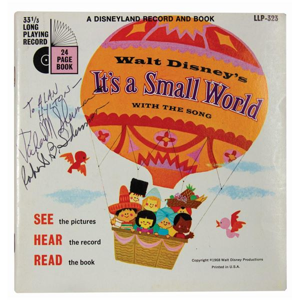 Sherman Bros. Signed It's a Small World Record & Book
