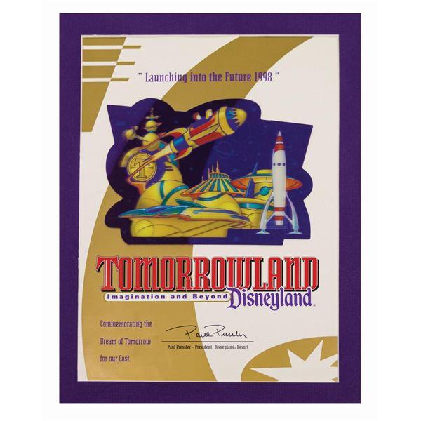 New Tomorrowland Cast Member Lenticular Certificate.