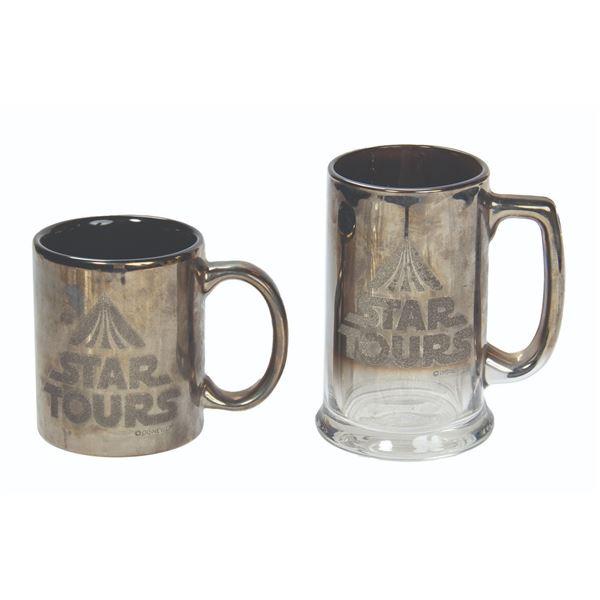 Set of (2) Star Tours Mirrored Chrome Mugs.