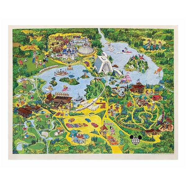 Walt Disney World Magic Kingdom Illustrated Map.