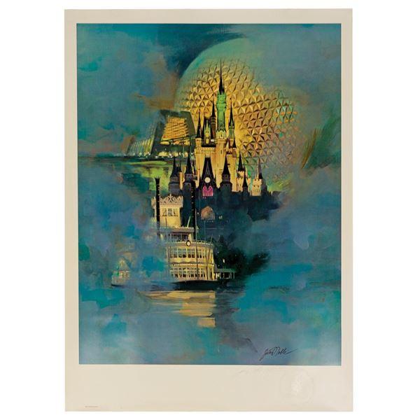 Walt Disney World 15th Anniversary Lithograph.