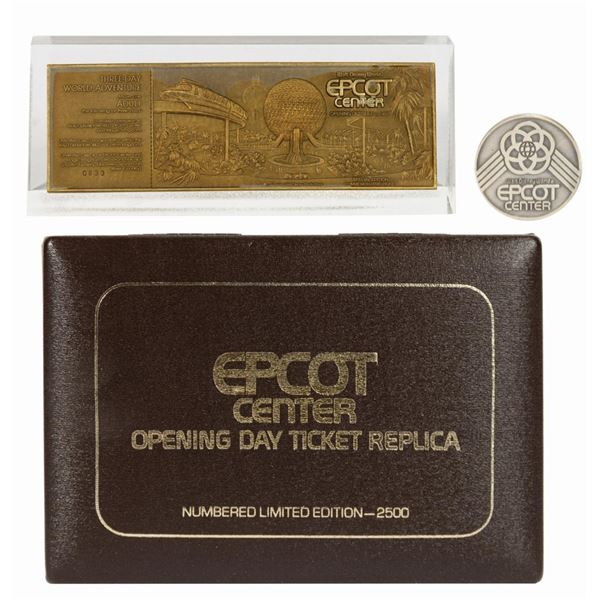 Epcot Center Opening Day Ticket Replica & Coin.