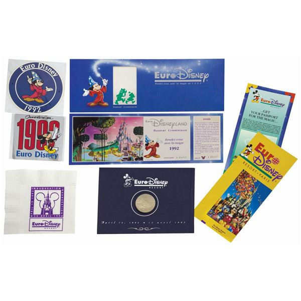 Collection of (7) Euro Disney Opening Items.