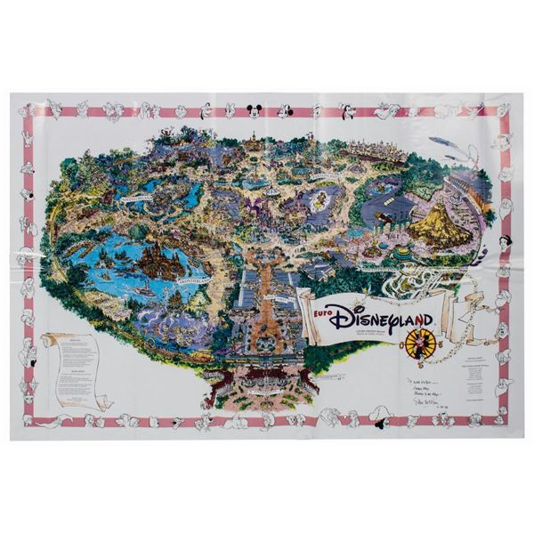 Sam McKim Signed 1992 Euro Disney Map.