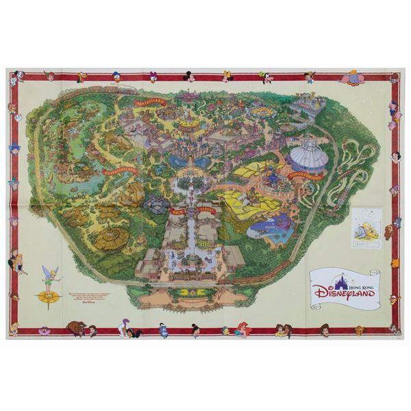 Hong Kong Disneyland Map Signed By Nina Rae Vaughn.
