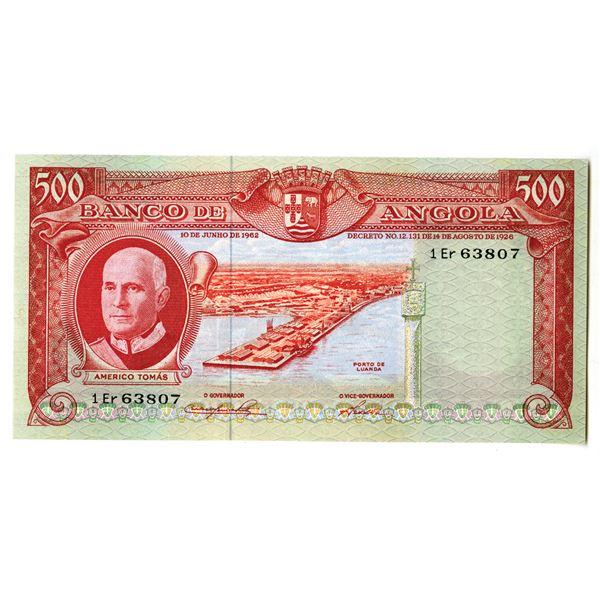 Banco de Angola. 1962 Issue Banknote.