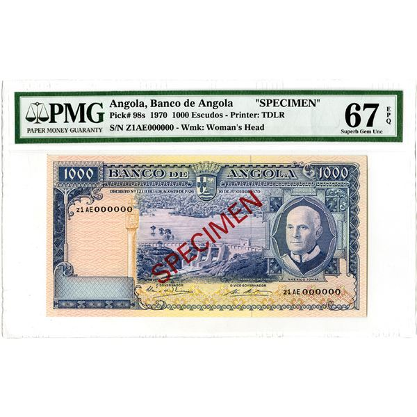 Banco de Angola. 1970. Specimen Banknote - Tied with the Finest Known.