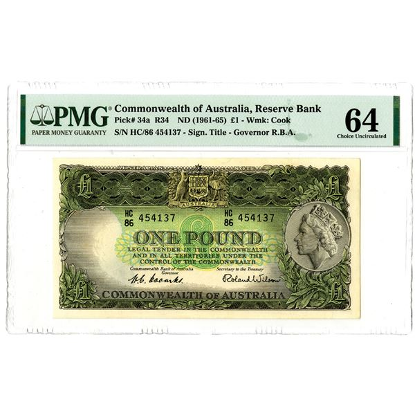 Reserve Bank of Australia. ND (1961-1965). Issued Banknote