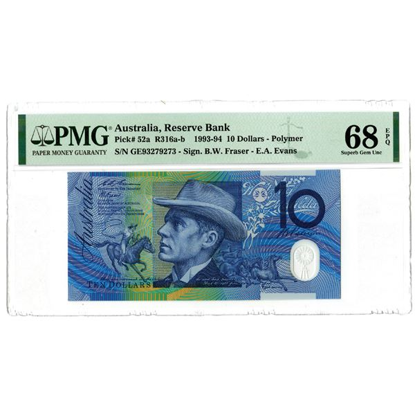 """Reserve Bank of Australia. 1993. """"Top Pop"""" Issued Banknote."""