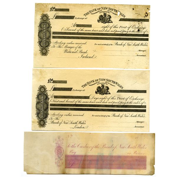 Bank of New South Wales, ca.1860-80's Proof Check and Bill of Exchange Trio