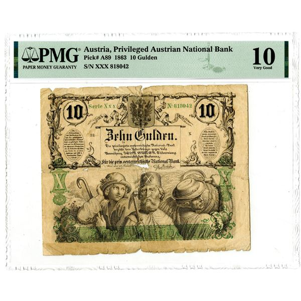 Privileged Austrian National Bank, 1863 Issued Banknote