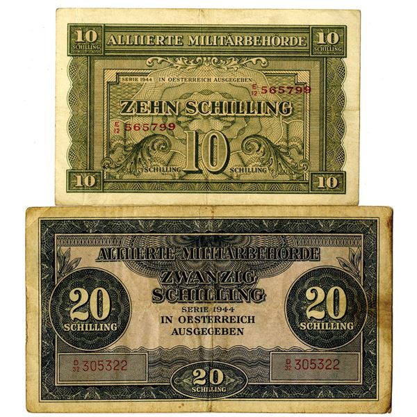 Allied Military Authority, 1944 Issued Banknote Pair