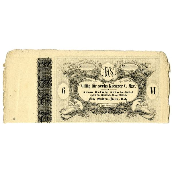Austria Private Issue Scrip Note or Coupon, Adam Helwig Sohn in Gabel, 1849, 10 Pieces for 1 Gulden