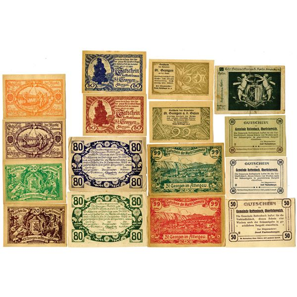 Austria, Large Lot of 1920s Notgeld and Private Scrip Issues