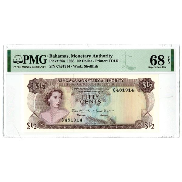 Bahamas Monetary Authority. 1968.  Top Pop  Issued Banknote.