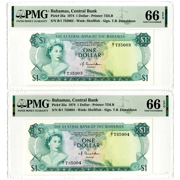 Central Bank of the Bahamas, 1974 High Grade Sequential Banknote Pair