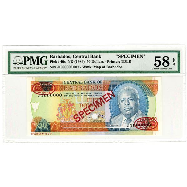 Central Bank of Barbados. ND (1989). Specimen Banknote.