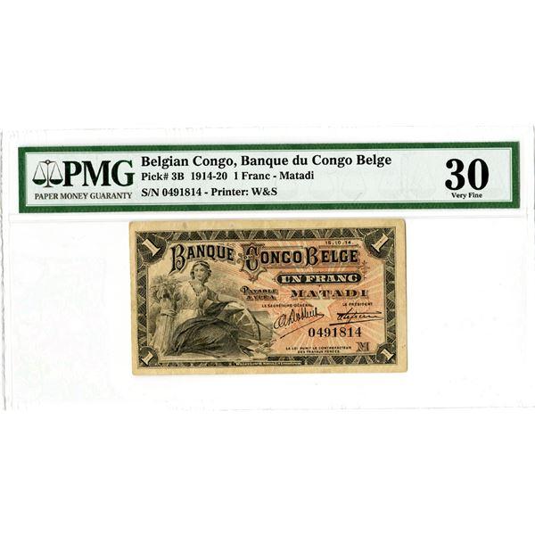 Banque du Congo Belge. 1914 Issue Banknote.