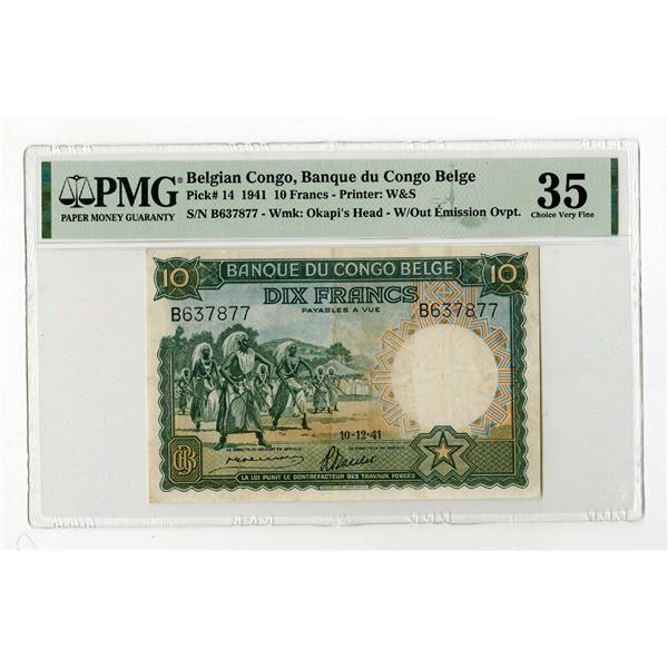 Banque du Congo Belge, 1941 Issue Banknote.