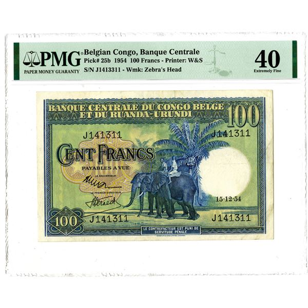 """Banque Central du Congo Belge. 1954. """"Top Pop"""" Issued Note."""