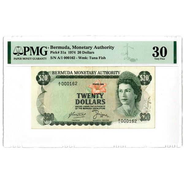 Bermuda Monetary Authority. 1974. Issued Low Serial Number Banknote.