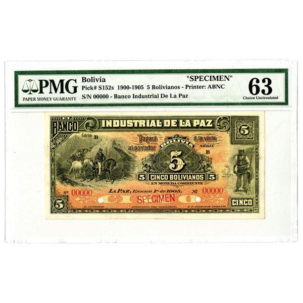 Banco Industrial de la Paz. 1905 Specimen Banknote.
