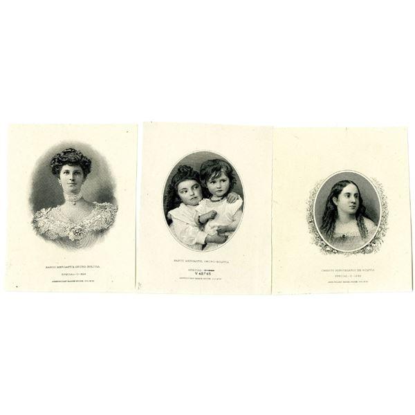 Banco Mercantil & Credito Hipotecario de Bolivia. 1906. Lot of 3 Proof Vignettes.
