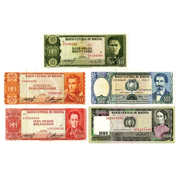 Banco Central de Bolivia Group of 9 Issued Banknotes, ca. 1960-80S