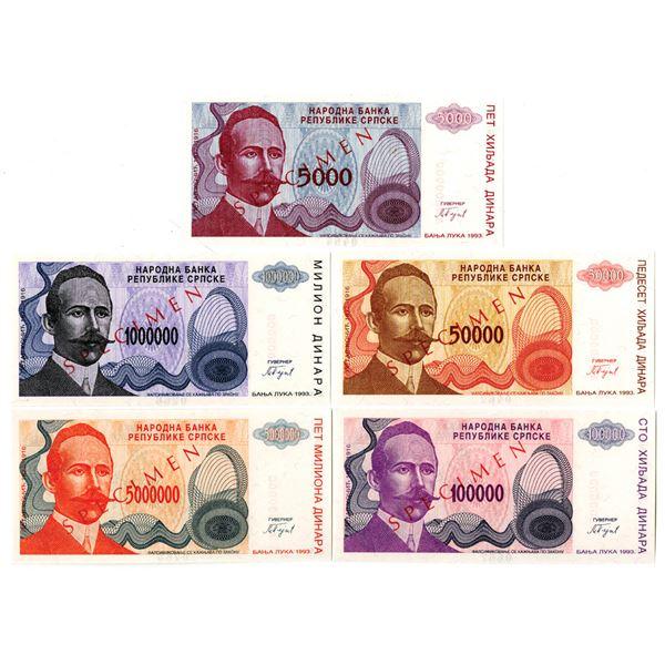 Narodna Banka Republike Srpske. 1993. Quintet of Specimen Notes.