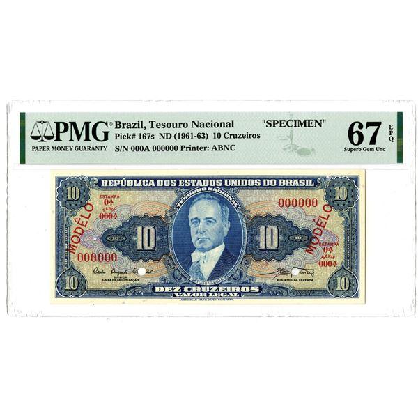"Tesouro Nacional, ND (1961-63) ""Top Pop""  Specimen Banknote"