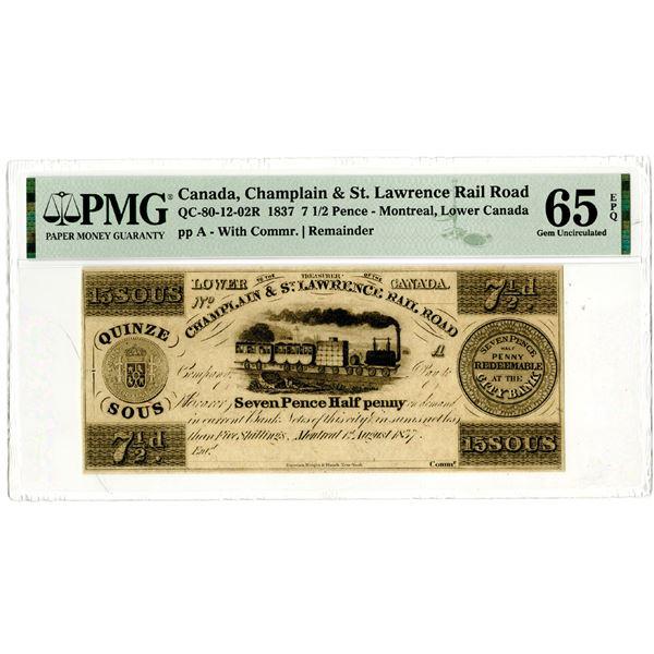Champlain & St. Lawrence River Rail Road, 1837 Remainder Banknote